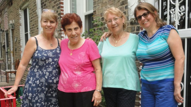 Julia Savaglio (second from left) and her daughter Mary (right) traveled from Africa recently to visit former neighbors (from left) Rita Aiello Martiniello and Maria Aiello Costabile.
